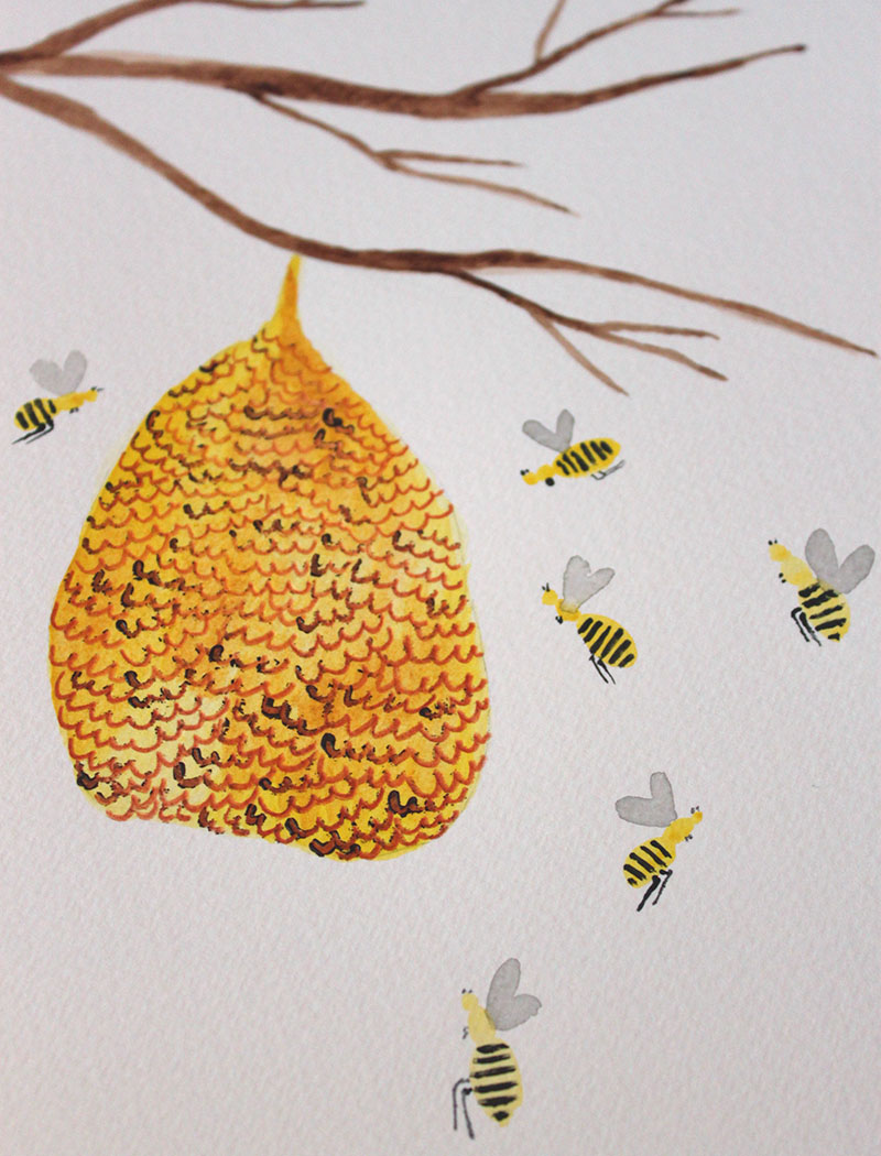 Beehive Watercolor Painting Tutorial