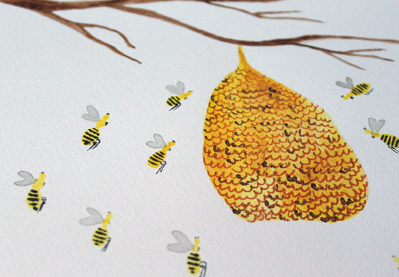 Beehive Watercolor
