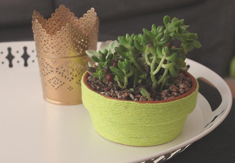 DIY Yarn Wrapped Planter