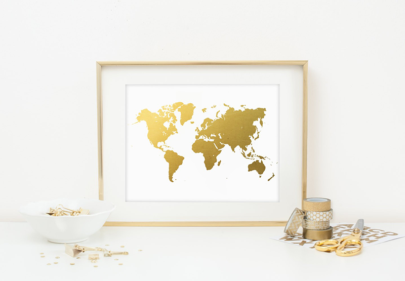 Gold Leaf World Print