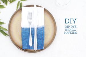 DIY+Dip-Dye+Indigo+Napkins