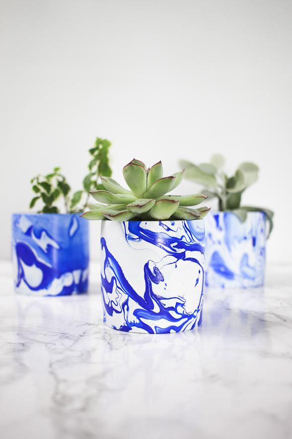 DIY Indigo Marbled Mini Planters
