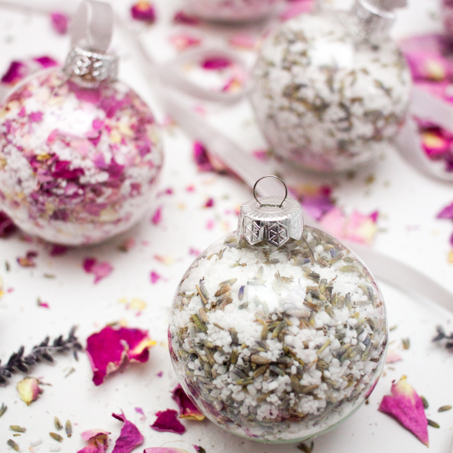 DIY Bath Salt Ornaments with Dried Rose Petals and Lavender