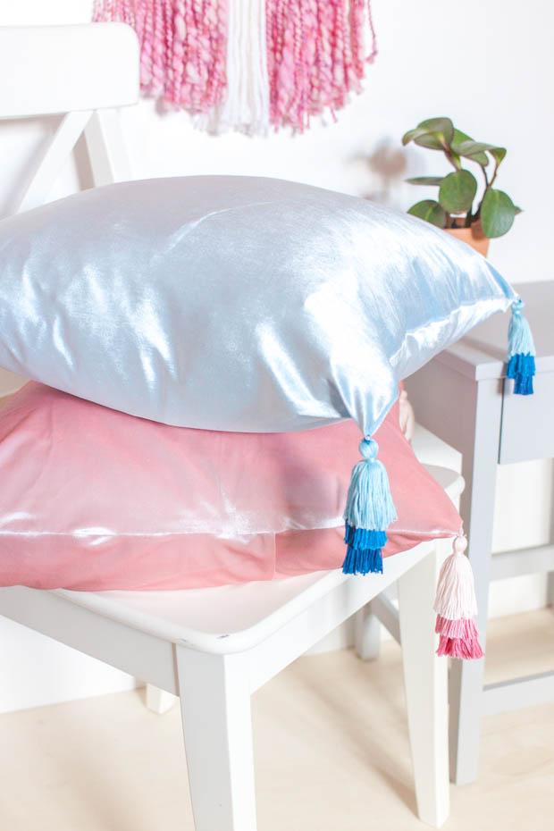 Anthropologie Inspired Tasseled Velvet Pillows